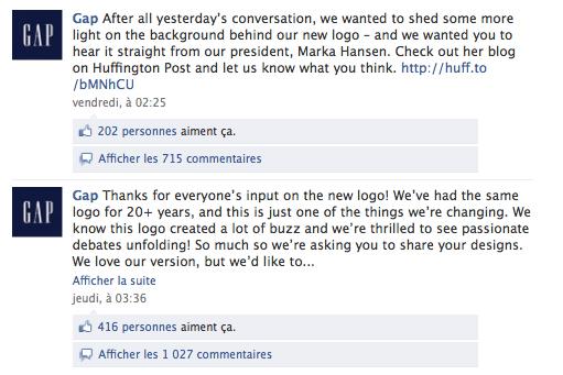 gap facebook netinfluence